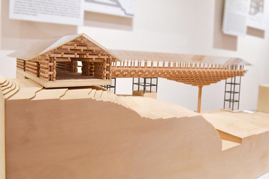 Yusuhara Wodden Bridge Museum designed by Kengo Kuma